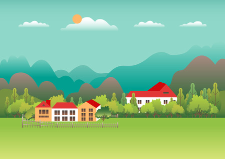 Rural valley Farm countryside. Village landscape with ranch in flat style design. Landscape with  house farm one family, barn, building, hills, tree, mountains, background cartoon vector illustration