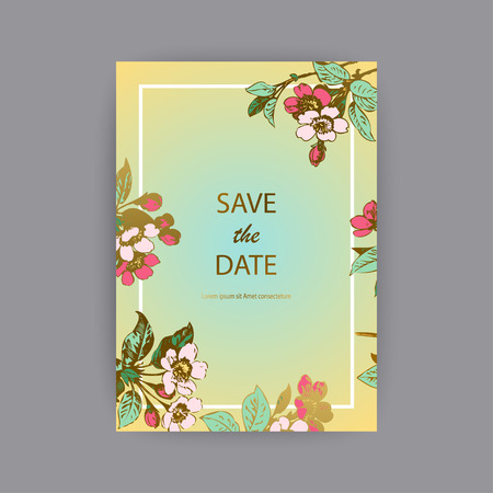Botanical wedding invitation card template design, hand drawn sakura flowers and leaves on branches, vintage rural cherry blossom on green gold background, retro style pastel color vector illustration Banque d'images - 125307124