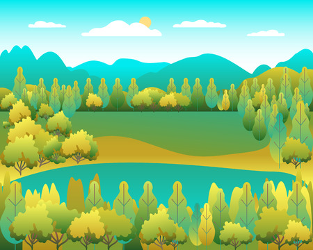 Hills landscape in flat style design. Valley with lake background. Beautiful green fields, meadow, mountains and blue sky. Rural location in the hill, forest, trees, cartoon vector Illustration