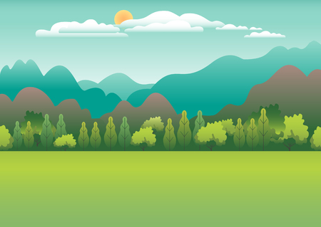 Hills and mountains landscape in flat style design. Valley background. Beautiful green fields, meadow, and blue sky. Rural location in the hill, forest, trees, cartoon vector illustration Ilustração