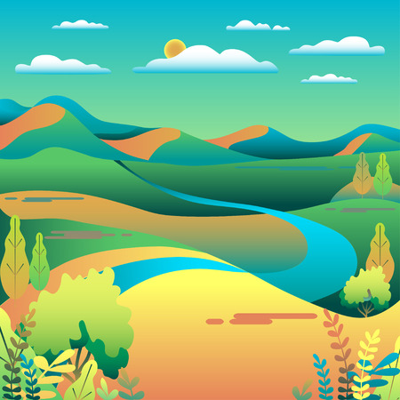 Hills and mountains landscape in flat style design. Valley background. Beautiful green fields, meadow, and blue sky. Rural location in the hill, river, trees, cartoon vector illustration