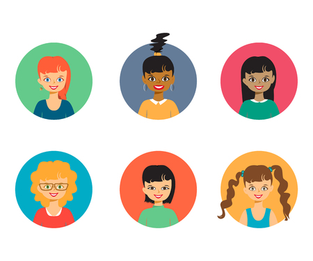 Smiling people portraits girls, faces and shoulders avatars set isolated vector illustration. Cartoon flat icons. Characters for web