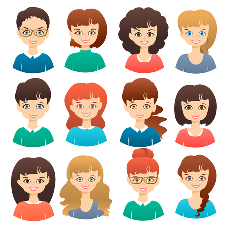 Set of cute girls women with different hairstyles and color vector illustration isolated. Cartoon flat icons Ilustração