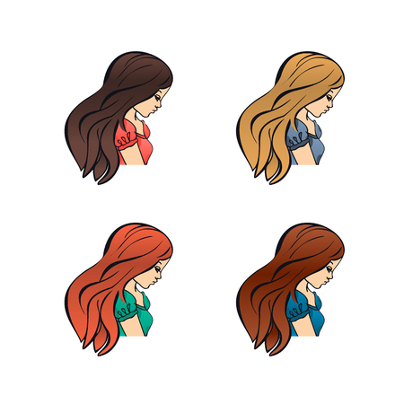 Set of cute girls with different color hand drawn outline style design vector illustration isolated. Cartoon flat icons