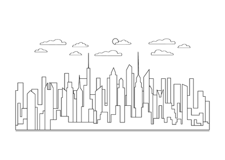 Thin line city landscape icon. Panorama design urban modern city with high skyscrapers, buildings, sky, clouds. Line art stile abstract backround, linear vector illustration