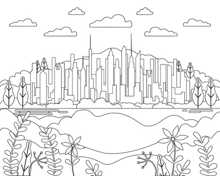 Thin line city landscape flat. Panorama design urban modern city with high skyscrapers, buildings, mountains, hills, trees, sky, clouds and sun. Line art stile abstract backround, linear vector illustration