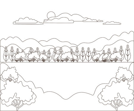 Thin line outline landscape rural farm. Panorama outdoor design village modern with mountain, hill, tree, sky, cloud and sun. Line art stile abstract backround, linear vector illustration