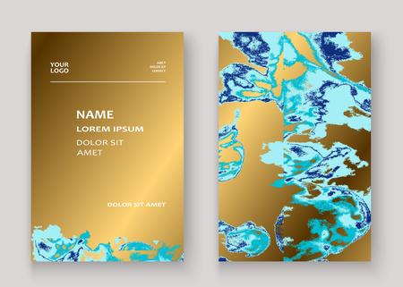 Navy blue marble luxurious texture paint artistic, wedding invitation design. Decorative splash fluid on golden background, vector Illustration. Trendy template vector Cover Card Flyer Poster Banner
