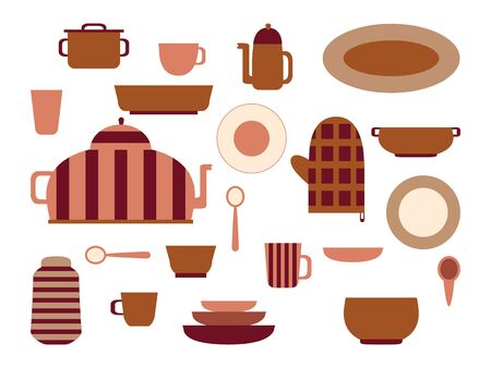 Collection of kitchenware and cookware set of kitchen utensils for home cooking and dishes for tea ore coffee drinking  flat vector illustration Ilustração