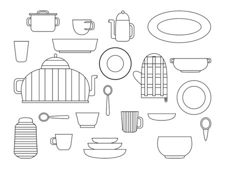 Collection of kitchenware and cookware set of kitchen utensils for home cooking and dishes for tea ore coffee drinking flat vector illustration, outline black white Banque d'images - 125969286