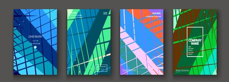 Modern trendy cover collection design. Abstract retro 90s style texture of colorful neon lines. Striped background. Future geometric patterns. Design presentations, print, flyer, business cards