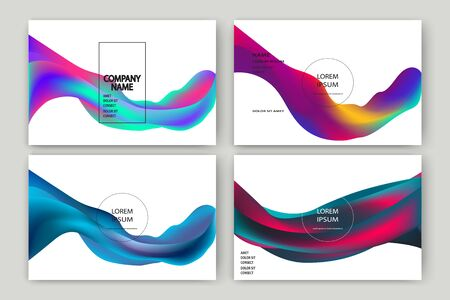 Fluid shapes isolated. Wavy liquid on white background. Bright neon abstract backdrop concept. Trendy gradient waves design set template vector Poster Layout Flyer Banner Brochure