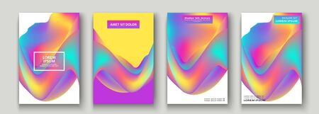 Fluid shapes. Wavy liquid background. Bright neon abstract backdrop concept. Trendy gradient waves design set template vector Poster Layout Magazine Flyer Banner Brochure Cover