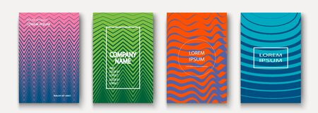 Minimalist modern cover collection design. Dynamic colorful halftone gradients. Future geometric patterns lines wave and zigzag vector background. Trendy minimalist poster template for business, web