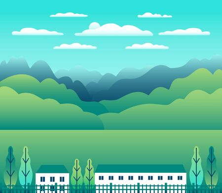 Hills and mountains landscape, house farm in flat style design. Outdoor panorama countryside illustration. Green field, tree, forest, blue sky and sun. Rural location, cartoon vector background