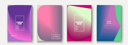 Trendy cool minimalist abstract modern covers design vector. Dynamic colorful halftone gradient. Futuristic geometric patterns shapes phormes lines background. Minimal poster template for business Иллюстрация