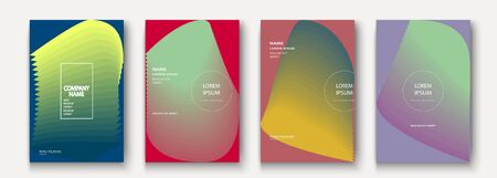 Trendy cool minimalist abstract modern covers design vector. Dynamic colorful halftone gradient. Futuristic geometric patterns shapes phormes lines background. Minimal poster template for business Ilustração