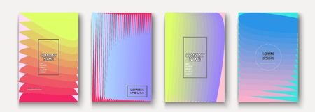 Trendy cool minimalist abstract modern covers design vector. Dynamic pastel colors halftone gradient. Futuristic geometric patterns shapes lines background. Minimal poster template for business Ilustração