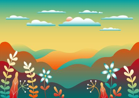 Countryside landscape. Beautiful nature with mountains, hills, field, trees, forest, lake and sky and sun. Cartoon illustration vector background flat style design. Trendy bright colors blue, yellow, red