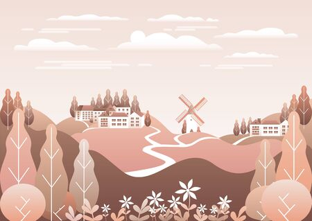 Countryside landscape. Country motif with farm. Beautiful city with houses, milll. Nature with mountains, hills, field, trees, forest. Cartoon illustration vector background flat style design