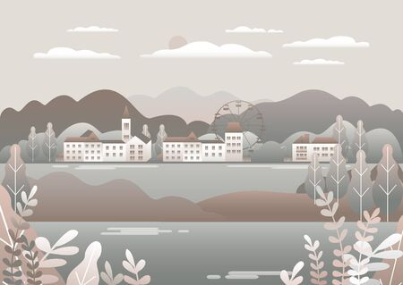 Countryside landscape. Country motif with farm. Beautiful city with houses, clock tower, ferris wheel. Nature with mountains, hills, field, trees, forest and lake. Cartoon illustration vector background flat style design Ilustração