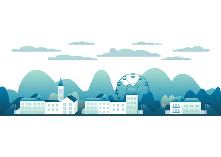City landscape isolated in white background . Beautiful outdoor panorama with houses, clock tower, ferris wheel. Mountains, hills, trees. Cartoon illustration flat style design vector. Trendy blue colors