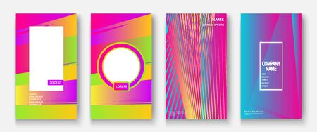 Modern business geometric template covers for design. Phone social media network concept. Promotion poster background. Creative stories set. Abstract vector illustration. Trendy gradient neon colors 向量圖像