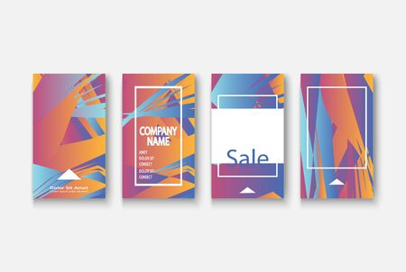 Modern business geometric template banner for design. Social media network concept. Promotion poster background. Creative stories set. Abstract vector illustration. Trendy gradient neon colors Standard-Bild - 134629173