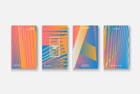 Modern business geometric template banner for design. Social media network concept. Promotion poster background. Creative stories set. Abstract vector illustration. Trendy gradient neon colors Standard-Bild - 134629180
