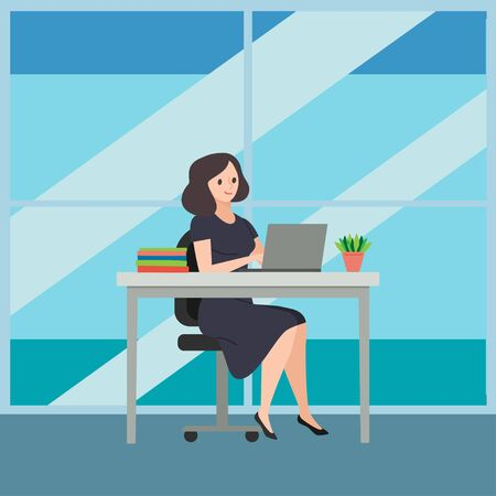 Business woman sitting on a chair at a table, on it are books and potted plants, behind a large window. Works at the computer in the office. Colorful vector illustration, design background