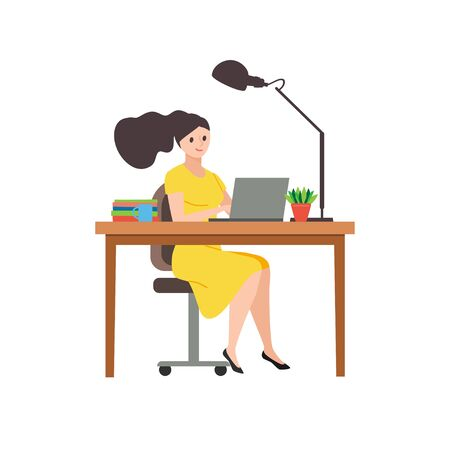 Business woman in yellow dress, sitting on a chair at a table, on it  books, mug and lamp on white isolated background design. Works at the computer in the office. Colorful vector illustration