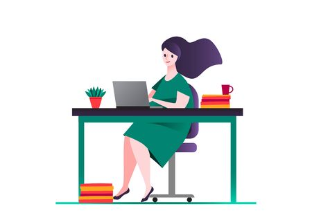Business woman in green dress, sitting on a chair at a table, on it  book, mug, potted plants on white isolated background design Girl works at the computer in the office  Colorful vector illustration 向量圖像