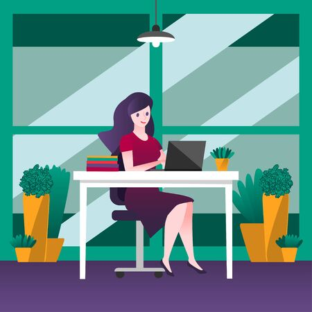 Business woman sitting on a chair at the table, on it books and potted plants, Large window behind. Works at the computer in the office. Greenery in workspaces concept design vector illustration