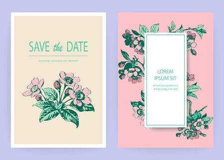 Hand drawn sakura pink blossom flowers and leaves on branches on white background, vintage style pastel color vector illustration, Botanical drawing cherry wedding invitation card, template design Vector Illustration