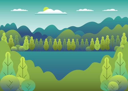 Hills landscape in flat style design. Valley with lake background. Beautiful green fields, meadow, mountains and blue sky. Rural location in the hill, forest, trees, cartoon vector Ilustração
