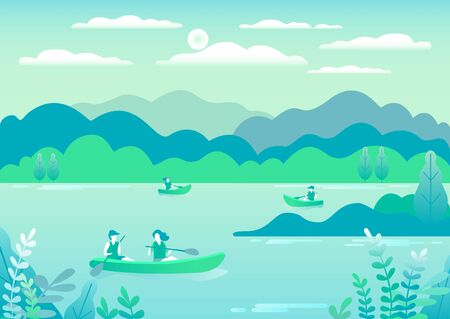 Rowing, sailing in boats as a sport or form of recreation vector flat illustration. Boating fun for all the family outdoors. Travel, go in a boat for pleasure. Landscape with lake, people go boating Foto de archivo - 142868106