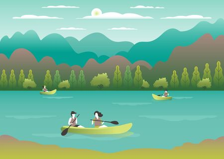 Rowing, sailing in boats as a sport or form of recreation vector flat illustration. Boating fun for all the family outdoors. Travel, go in a boat for pleasure. Landscape with lake, people go boating Foto de archivo - 142868159