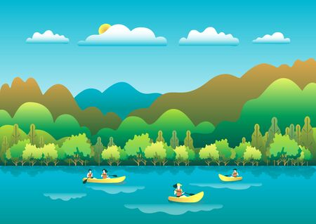 Rowing, sailing in boats as a sport or form of recreation vector flat illustration. Boating fun for all the family outdoors. Travel, go in a boat for pleasure. Landscape with lake, people go boating Foto de archivo - 142868132