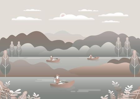 Rowing, sailing in boats as a sport or form of recreation vector flat illustration. Boating fun for all the family outdoors. Travel, go in a boat for pleasure. Landscape with lake, people go boating Foto de archivo - 142868012