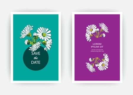 Hand drawn close-up Chrysanthemum flower artistic vector illustration. Botanical wedding ornament. Petals painted in white. Floral trendy pattern Greeting card invitation on blue purple backgrounds