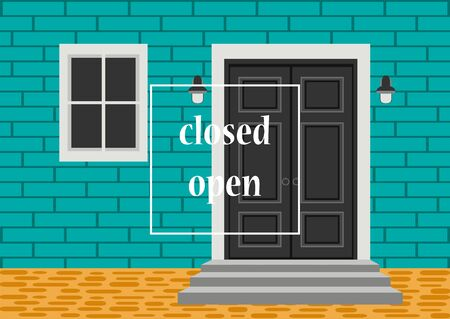 Apartment building with door, front with doorstep and steps porch, window, lamp, exterior entrance doors, brick wall. Vector illustration for design banner background. Closed open doors concept Illusztráció