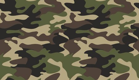 Camouflage pattern background vector. Classic clothing style masking camo repeat print. Virtual background for online conferences, online transmissions. Green brown black olive colors forest texture