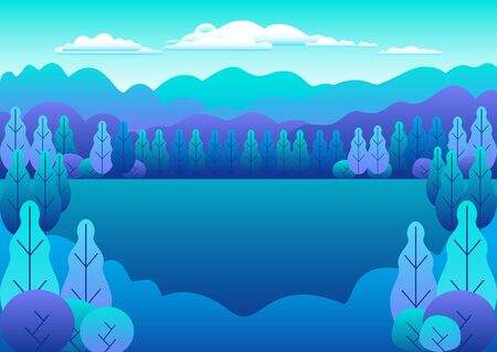 Hills and mountains landscape in flat style design. Beautiful bright field with grass, meadow and blue sky. Rural location in the forest, trees. Cartoon illustration vector background pastel colors