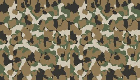 Camouflage pattern background vector. Military style masking camo clothing repeat print. Virtual background for online conferences, online transmissions. Green brown olive color geometric texture wall