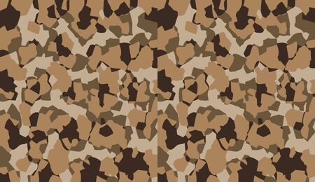 Camouflage pattern background vector. Military style masking camo clothing repeat print. Virtual background for online conferences, online transmissions. Brown olive colors geometric texture wall