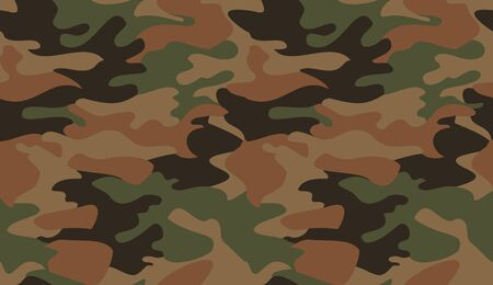 Camouflage pattern background vector. Classic clothing style masking camo repeat print. Virtual background for online conferences, online transmissions. Green brown black olive colors forest texture  Vectores