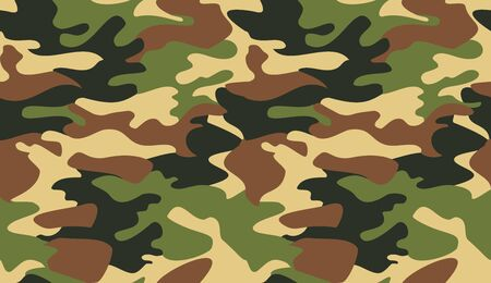 Camouflage pattern background vector. Classic clothing style masking camo repeat print. Virtual background for online conferences, online transmissions. Green brown black yellow colors forest texture
