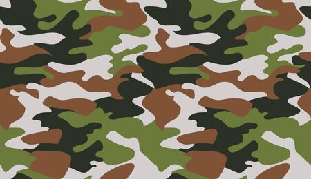 Camouflage pattern background vector. Classic clothing style masking camo repeat print. Virtual background for online conferences, online transmissions. Green brown black grey colors forest texture  Vectores