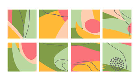 Set of fun hand drawn colorful shapes, doodle objects, lines and dots collage, modern trendy abstract pattern background for design banners. Green yellow pink pastel colors. Vector illustrations Ilustración de vector