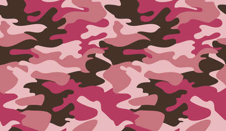 Seamless camouflage pattern background vector. Classic clothing style masking camo repeat print. Pink brown colors texture graphic design for virtual background, online conference, online transmission